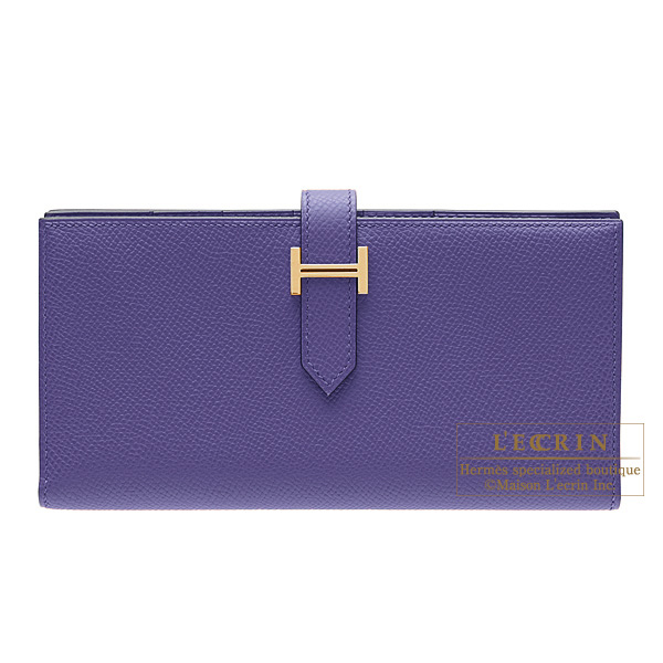 Hermes Bearn wallet with gusset Iris Epsom leather Gold hardware