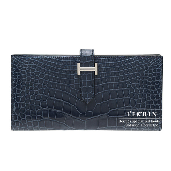 Hermes Bearn wallet with gusset Marine blue Alligator crocodile skin Silver hardware