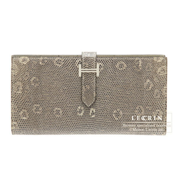 Hermes Bearn wallet with gusset Ombre/Shadow Natural lizard skinSilver hardware