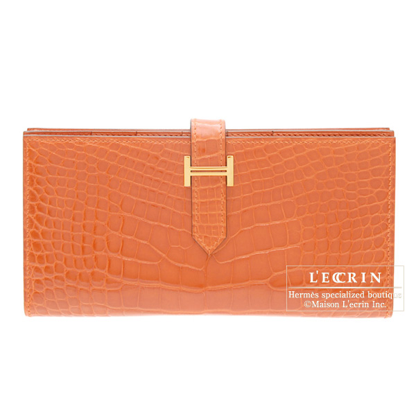 Hermes Bearn wallet with gusset Orange Alligator crocodile skin Gold hardware