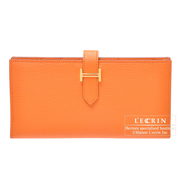 Hermes Bearn wallet with gusset Orange Chevre goatskin Gold hardware