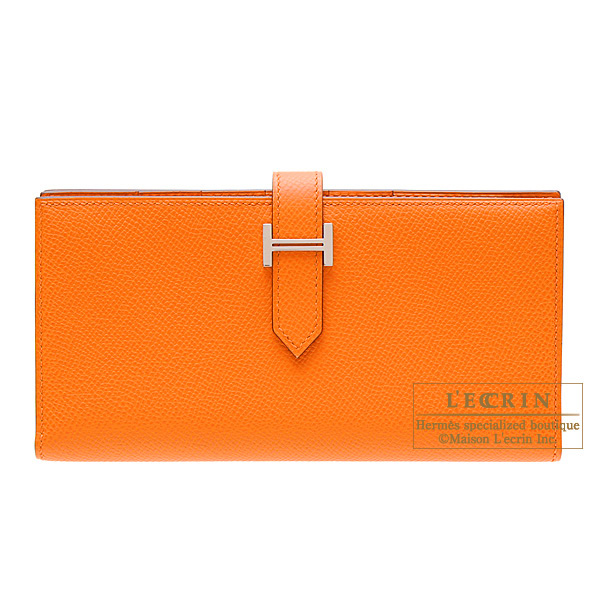 Hermes Bearn wallet with gusset Orange Epsom leather Silver hardware