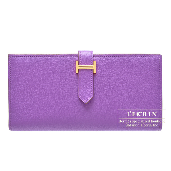 Hermes Bearn wallet with gusset Parme/Parma violet Chevre goatskin Gold hardware