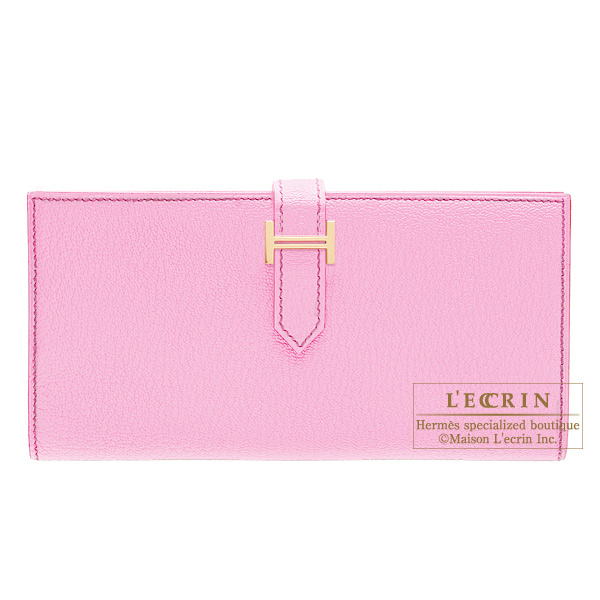 Hermes Bearn wallet with gusset Pink Chevre goatskin Gold hardware