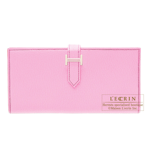Hermes Bearn wallet with gusset Pink Chevre goatskin Silver hardware