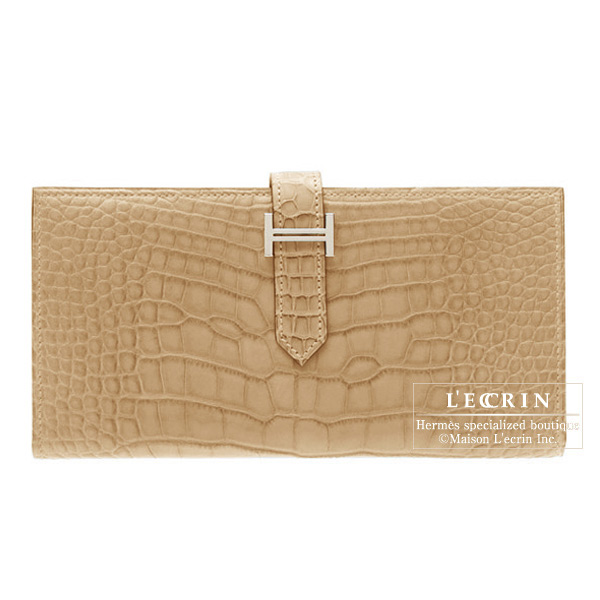 Hermes Bearn wallet with gusset Poussiere/Dust Matt alligator crocodile skinSilver hardware