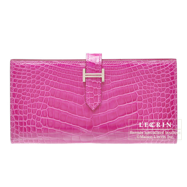 Hermes Bearn wallet with gusset Rose Scheherazade Alligator crocodile skinSilver hardware