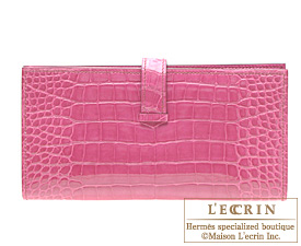 Hermes Bearn wallet with gusset Rose Tyrien Alligator crocodile skin Silver hardware