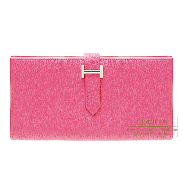 Hermes Bearn wallet with gusset Rose Tyrien/Hot pink Chevre goatskinSilver hardware