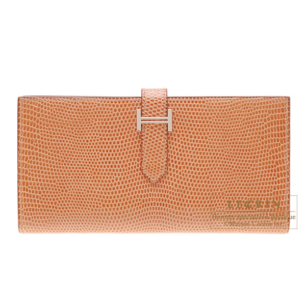 Hermes Bearn wallet with gusset Rosy/Orange pink Lizard skin Silver hardware