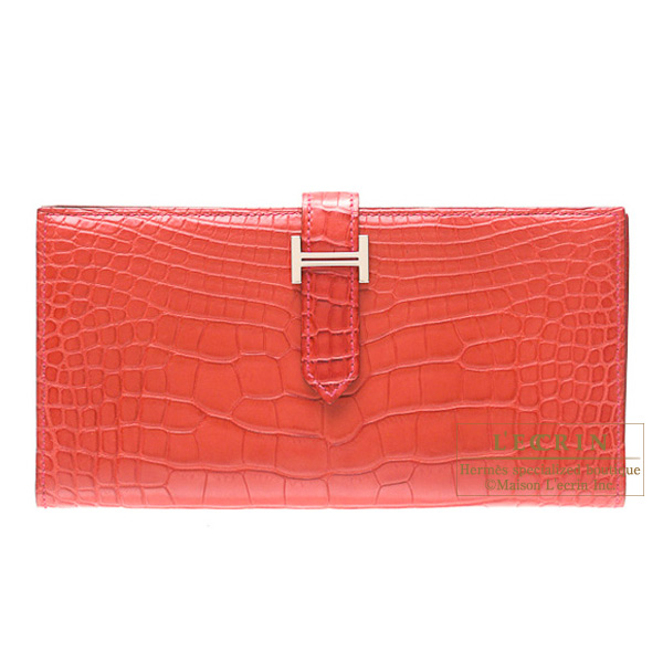 Hermes Bearn wallet with gussetRouge indien/Indian redMatt alligator crocodile skinSilver hardware