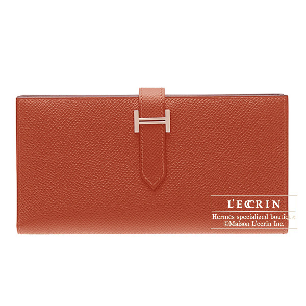 Hermes Bearn wallet with gusset Rouge venitienne/Venetian red Epsom leatherSilver hardware