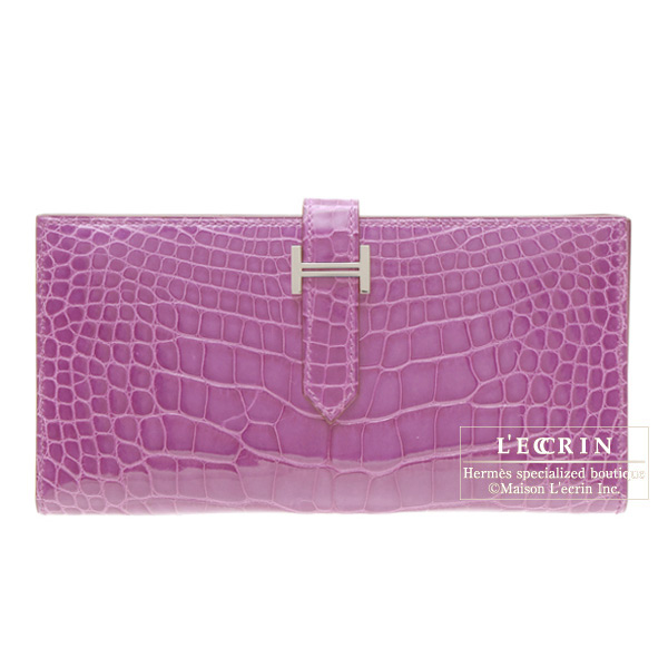 Hermes Bearn wallet with gusset Violet/Purple Alligator crocodile skinSilver hardware