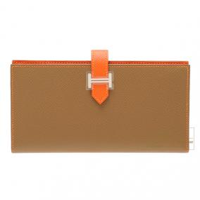 Hermes Bearn wallet with gusset Bi-color Alezan/Feu Epsom leather Silver hardware