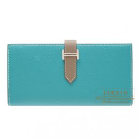 Hermes Bearn wallet with gusset Bi-color Blue paon/Taupe grey Epsom leather Silver hardware