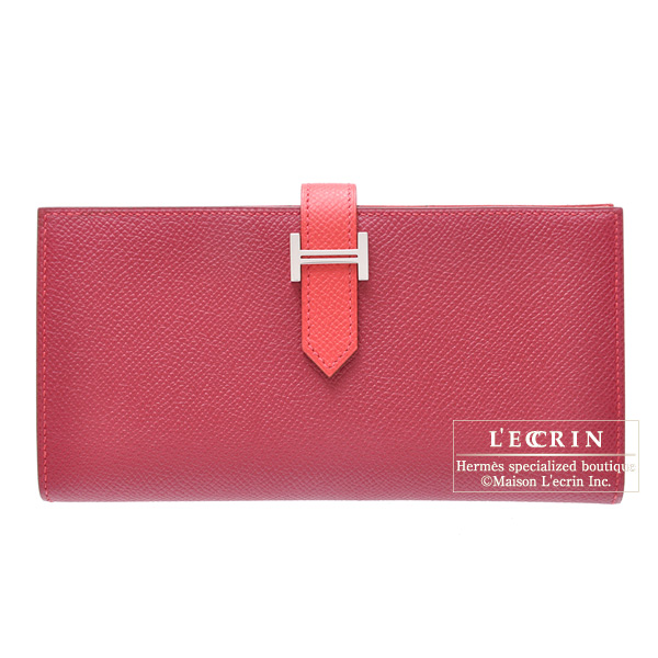 Hermes Bearn wallet with gusset Bi-color Bougainvillier/Ruby Epsom leather Silver hardware