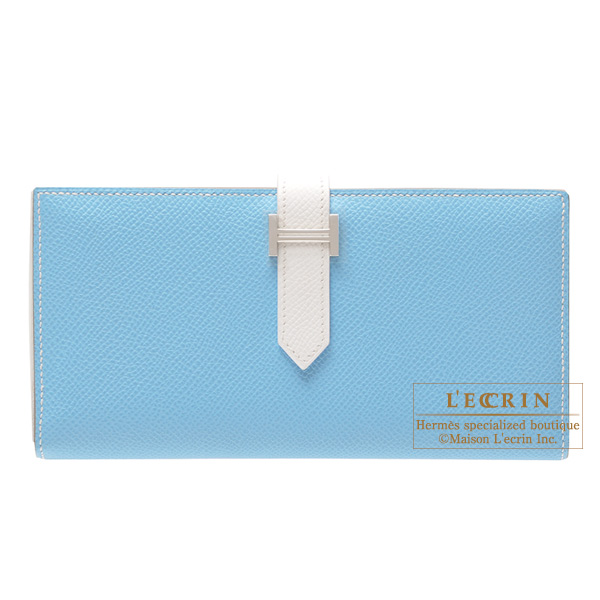 Hermes Bearn wallet with gusset Bi-color Celeste blue/White Epsom leather Silver hardware