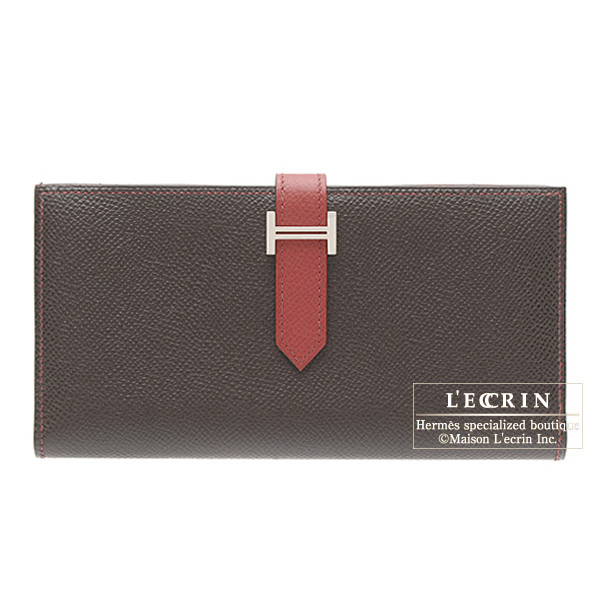 Hermes Bearn wallet with gusset Bi-color Chocolat/Bright red Epsom leather Silver hardware