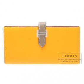 Hermes Bearn wallet with gusset Bi-color Jaune d\'or/Taupe grey Epsom leather Silver hardware