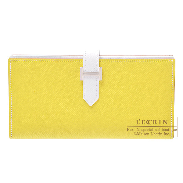 Hermes Bearn wallet with gusset Bi-color Lime yellow/White Epsom leather Silver hardware