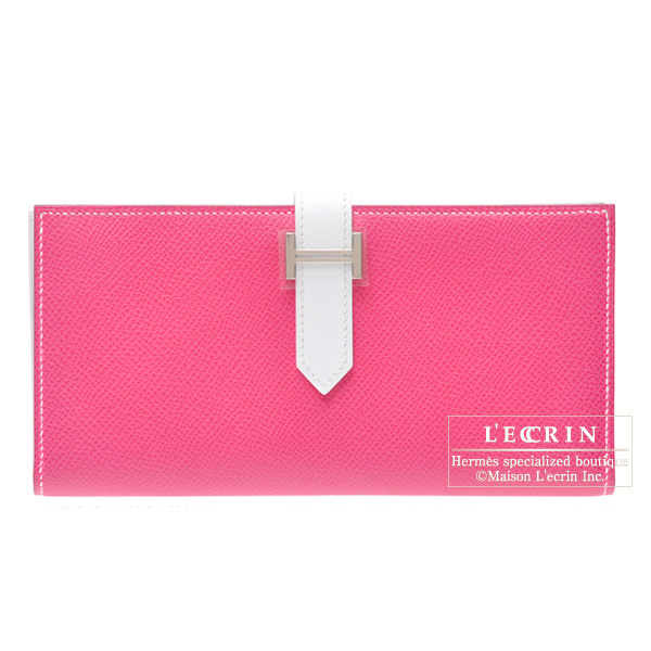 Hermes Bearn wallet with gusset Bi-color Rose Tyrien/White Epsom leather Silver hardware