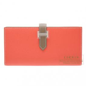 Hermes Bearn wallet with gusset Bi-color Rose jaipur/Taupe grey Epsom leather Silver hardware
