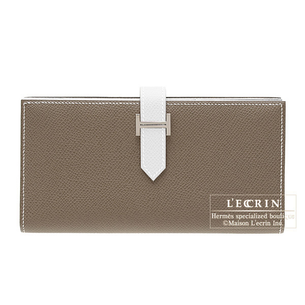 Hermes Bearn wallet with gusset Bi-color Taupe grey/White Epsom leather Silver hardware