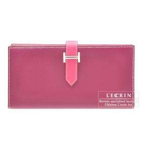Hermes Bearn wallet with gusset Bi-color Tosca/Rose Tyrien Epsom leather Silver hardware