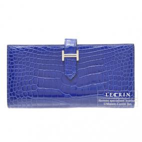 Hermes Bearn wallet with gusset Bleu Electric Alligator crocodile skin Silver hardware