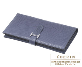Hermes Bearn wallet with gusset Blue de malte/Dark blue Matt alligator crocodile skin Silver hardwar