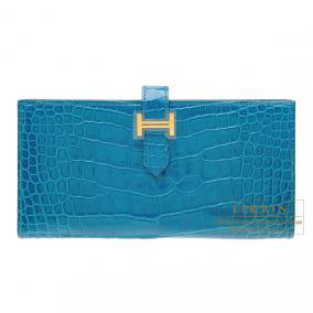 Hermes Bearn wallet with gusset Blue izmir Alligator crocodile skin Gold hardware