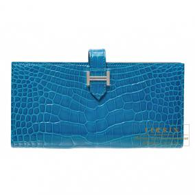 Hermes Bearn wallet with gusset Blue izmir Alligator crocodile skin Silver hardware