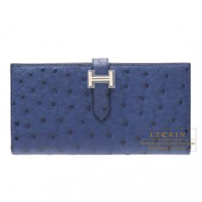Hermes Bearn wallet with gusset Blue roy/Blue roi Ostrich leather Silver hardware