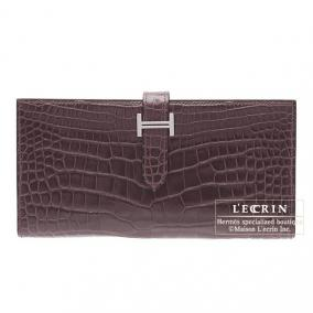 Hermes Bearn wallet with gusset Bordeaux/Wine red Alligator crocodile skin Silver hardware