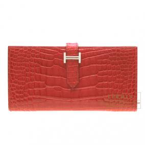 Hermes Bearn wallet with gusset Braise/Bright red Alligator crocodile skin Silver hardware