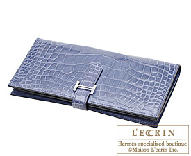 Hermes Bearn wallet with gusset Brighton blue Alligator crocodile skin Silver hardware