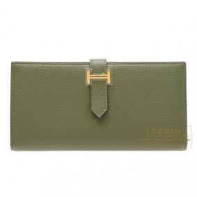 Hermes Bearn wallet with gusset Canopee/Canopee green Chevre goatskin Gold hardware