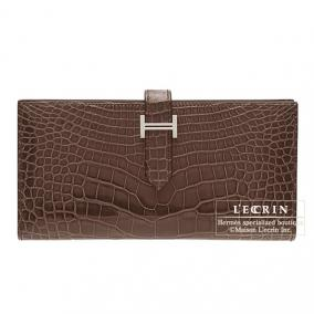 Hermes Bearn wallet with gusset Cocaon/Dark brown Alligator crocodile skin Silver hardware