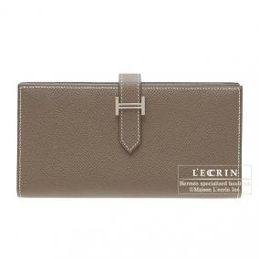 Hermes Bearn wallet with gusset Etoupe/Taupe grey Epsom leather Silver hardware