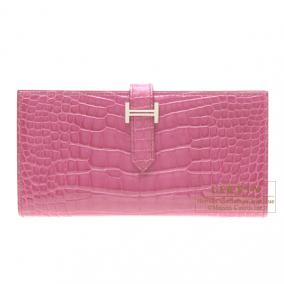 Hermes Bearn wallet with gusset Fuschia pink Alligator crocodile skin Silver hardware