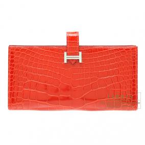 Hermes Bearn wallet with gusset Geranium/Geranium red Alligator crocodile skin Silver hardware