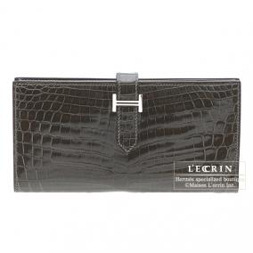 Hermes Bearn wallet with gusset Graphite Alligator crocodile skin Silver hardware