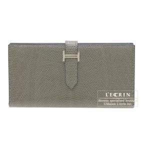 Hermes Bearn wallet with gusset Gris fonce/Dark grey Lizard skin Silver hardware