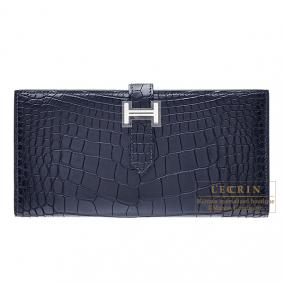 Hermes Bearn wallet with gusset Indigo blue Matt alligator crocodile skin Silver hardware