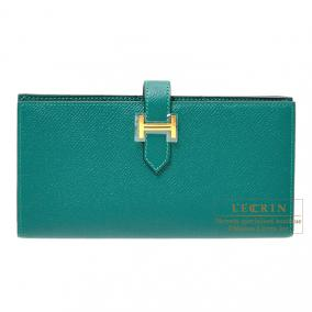 Hermes Bearn wallet with gusset Malachite/Malachite green Epsom leather Gold hardware