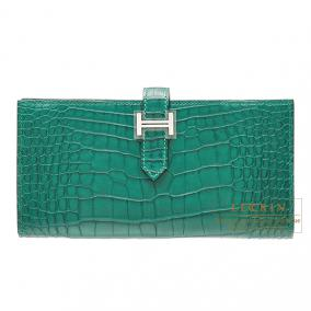 Hermes Bearn wallet with gusset Malachite/Malachite green alligator crocodile skin Silver hardware