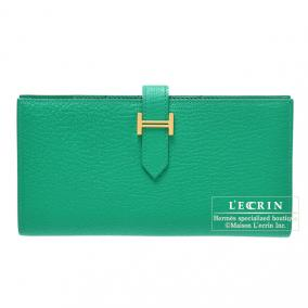 Hermes Bearn wallet with gusset Menthe/Mint green Chevre goatskin Gold hardware
