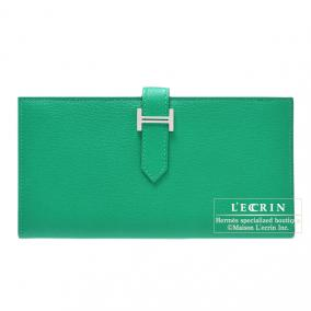 Hermes Bearn wallet with gusset Menthe/Mint green Chevre goatskin Silver hardware