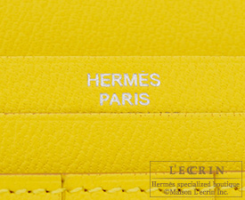 Hermes Bearn wallet with gusset Mimosa/Mimosa yellow Matt alligator crocodile skin Silver hardware