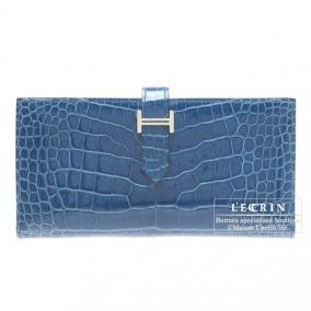 Hermes Bearn wallet with gusset Mykonos/Mykonos Blue Alligator crocodile skin Silver hardware